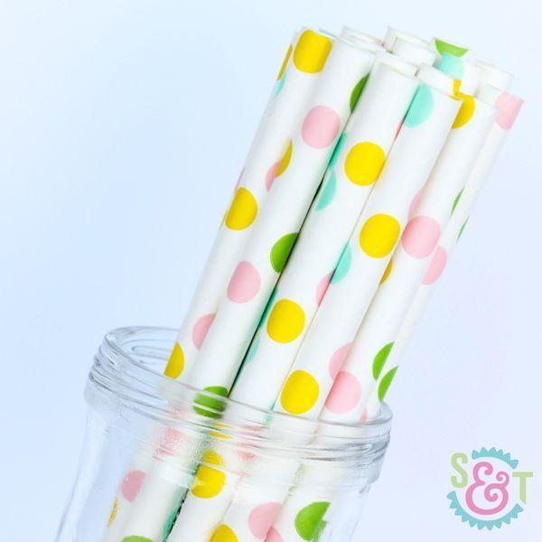 Dot Paper Straws: Multi Pastel