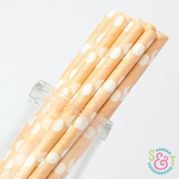 Dot Paper Straws: Peach/White