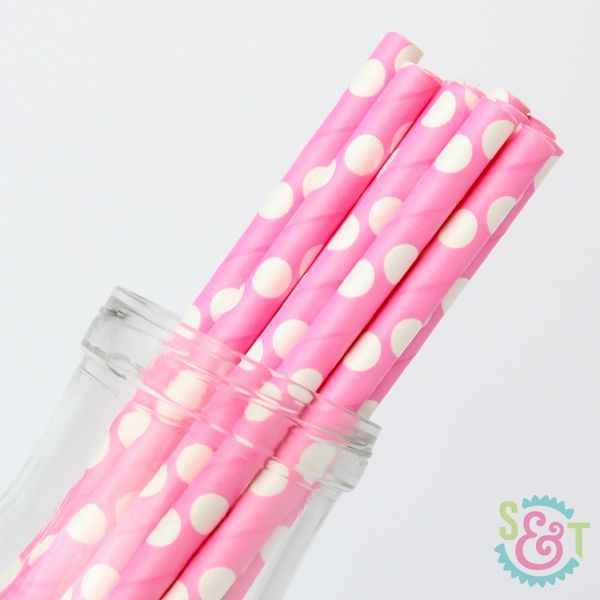 Dot Paper Straws: Pink/White