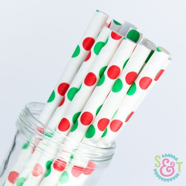 Red & Green Polka Dot Paper Straws - Christmas Paper Straws