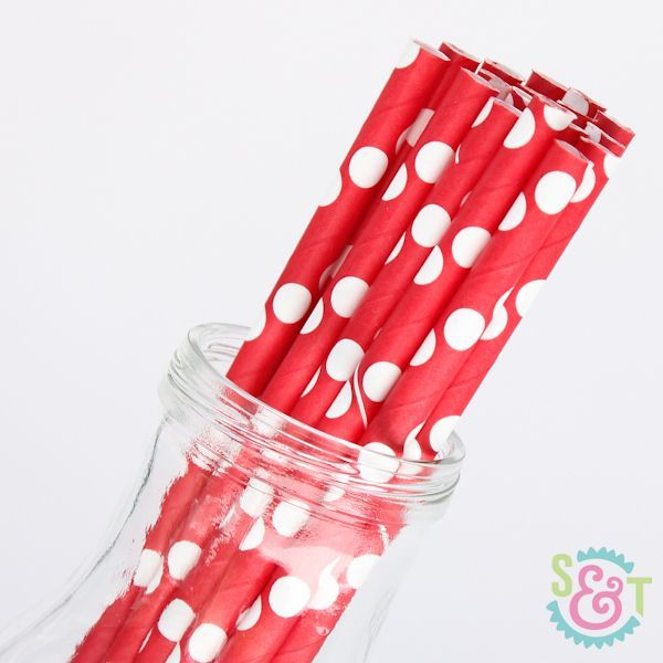 Red Polka Dot Paper Straws - Red Paper Straws