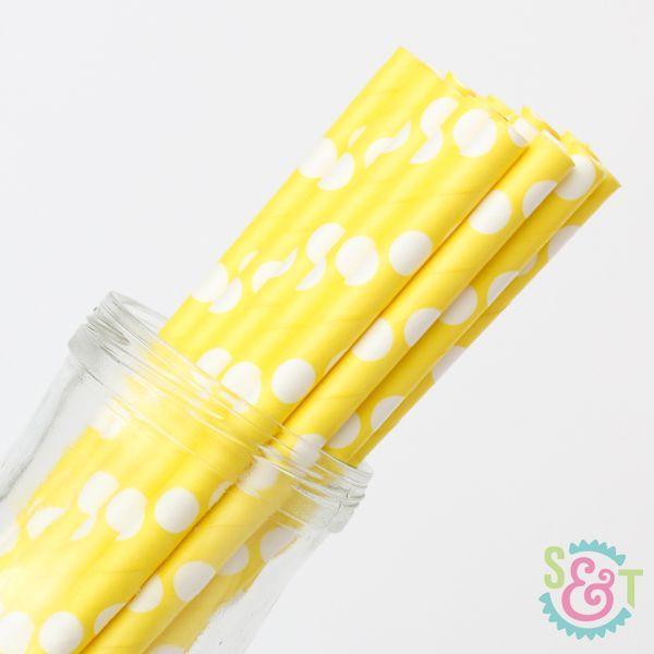 Dot Paper Straws: Yellow/White