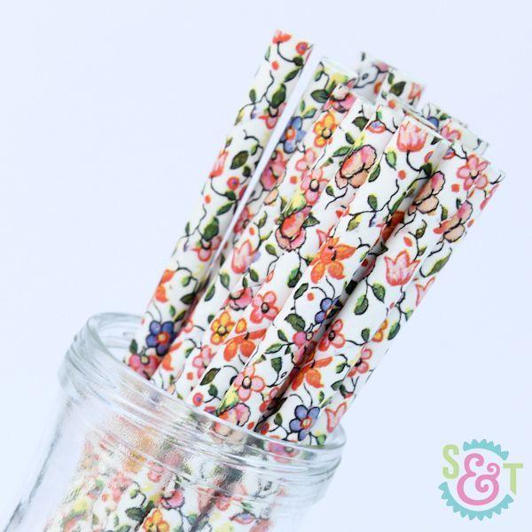 Floral Paper Straws: Multicolor