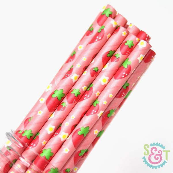 Fruit Paper Straws: Strawberry