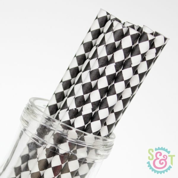 Diamond Paper Straws: Black
