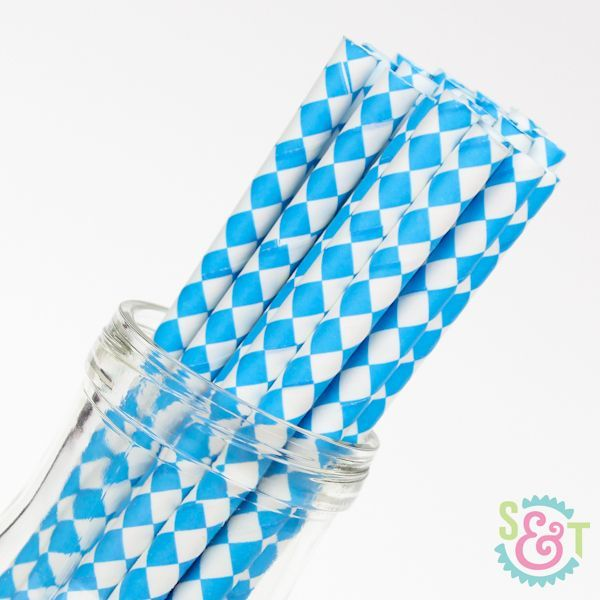 Diamond Paper Straws: Blue