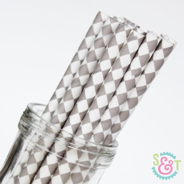 Diamond Paper Straws: Gray