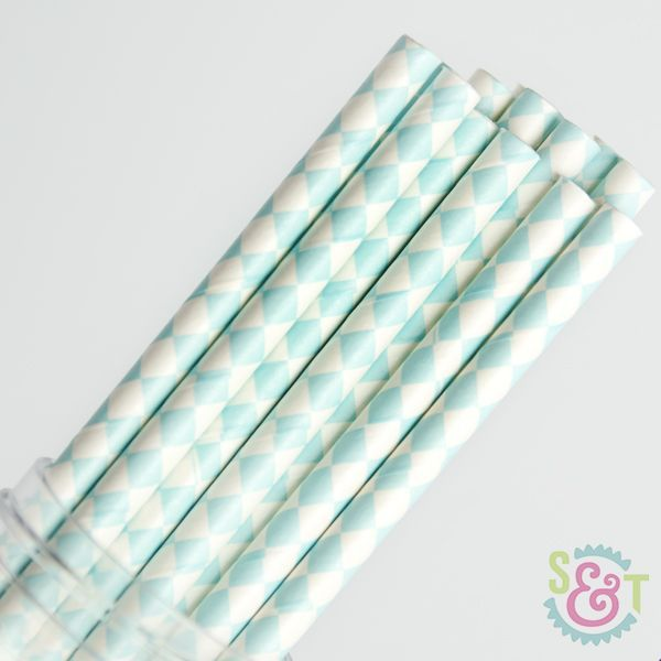 Diamond Paper Straws: Light Blue