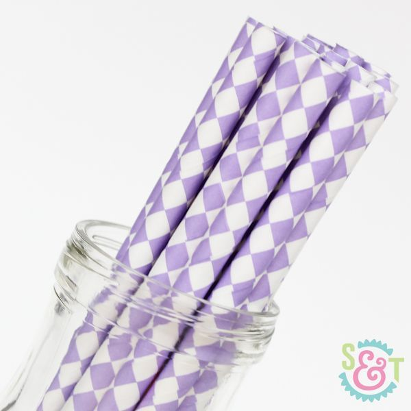 Diamond Paper Straws: Light Purple