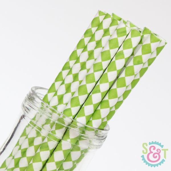 Diamond Paper Straws: Lime