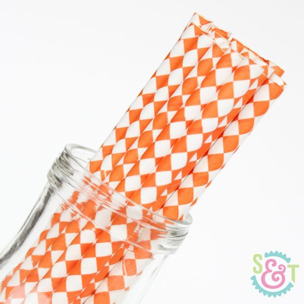 Diamond Paper Straws: Orange