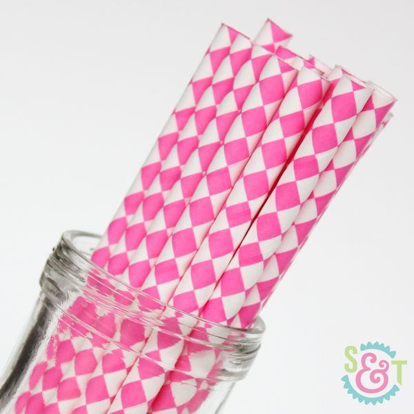Diamond Paper Straws: Pink