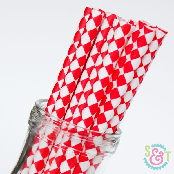 Diamond Paper Straws: Red