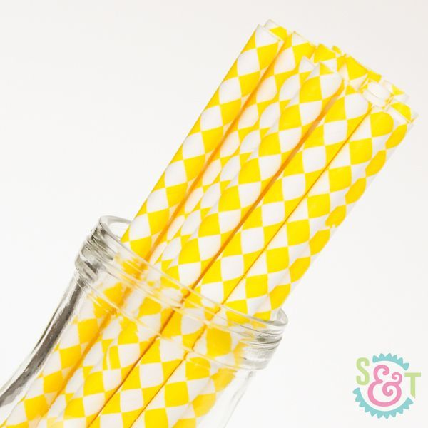 Diamond Paper Straws: Yellow