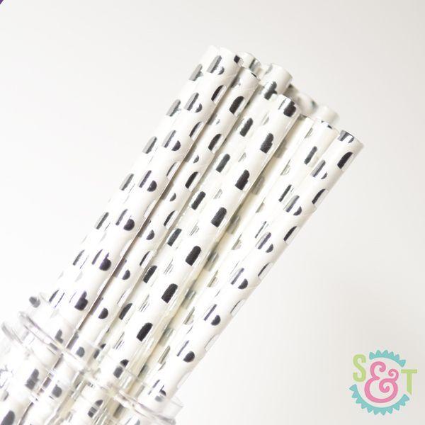 Heart Paper Straws: Silver Foil