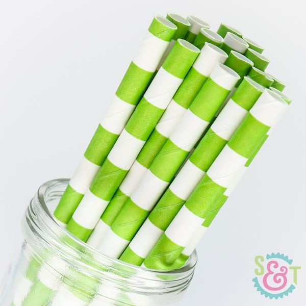Rugby Stripe Paper Straws: Lime Green