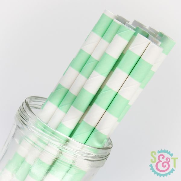 Rugby Stripe Paper Straws: Mint Green