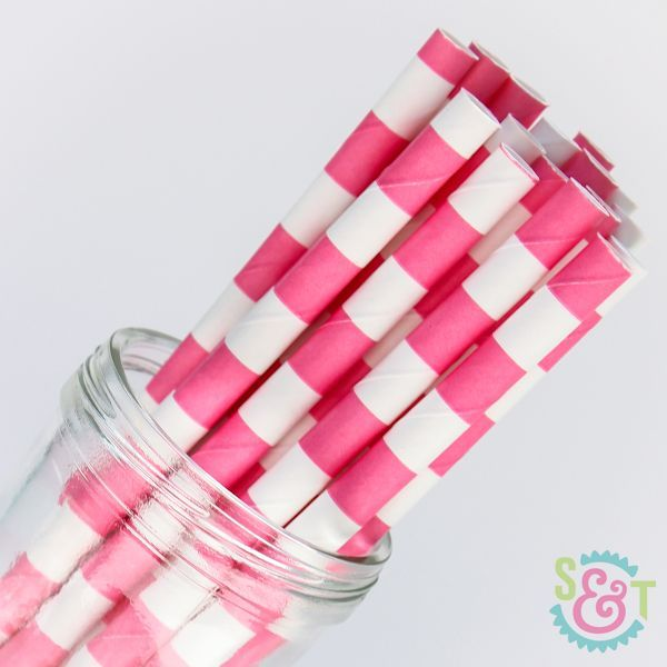 Rugby Stripe Paper Straws: Pink