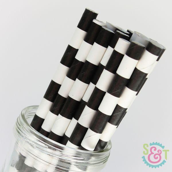 Rugby Stripe Paper Straws: Black