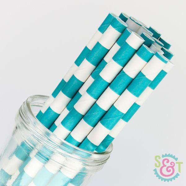 Rugby Stripe Paper Straws: Aqua Blue