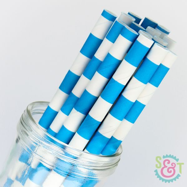 Rugby Stripe Paper Straws: Blue