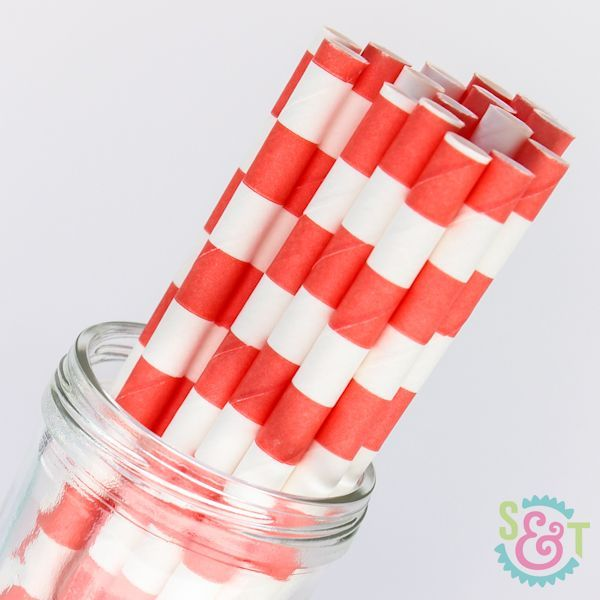 Rugby Stripe Paper Straws: Coral
