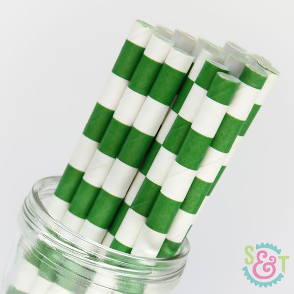 Rugby Stripe Paper Straws: Green