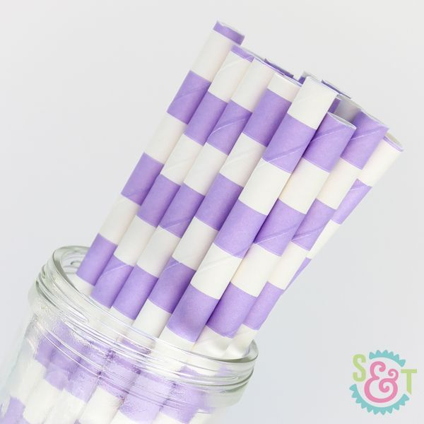 Light Purple Rugby Striped Paper Straws - Striped Paper Straws
