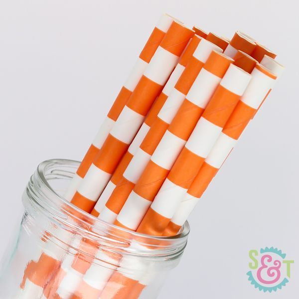 Rugby Stripe Paper Straws: Orange