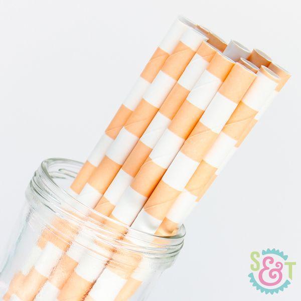 Rugby Stripe Paper Straws: Peach