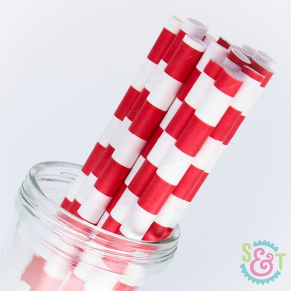 Rugby Stripe Paper Straws: Red