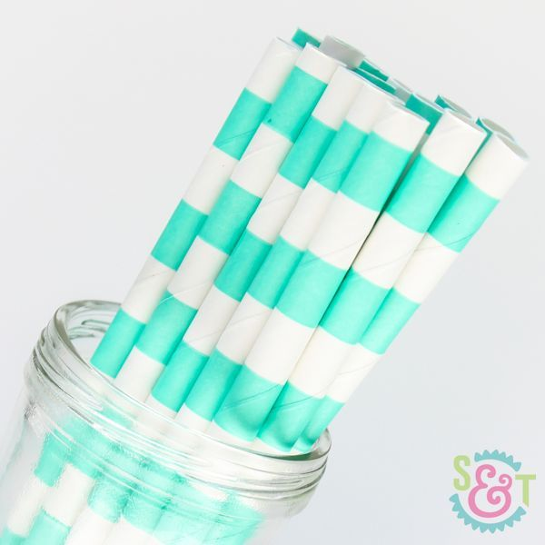 Rugby Stripe Paper Straws: Teal