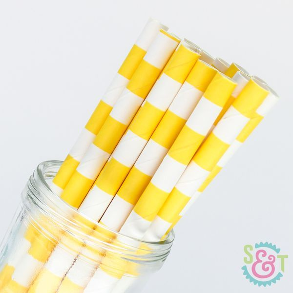 Rugby Stripe Paper Straws: Yellow