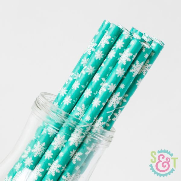 Teal Snowflake Paper Straws - Christmas Paper Straws