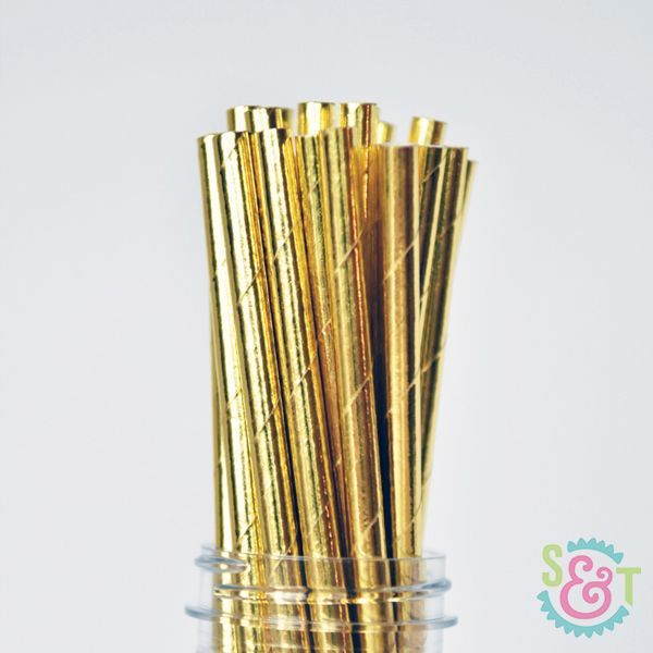 Solid Paper Straws: Gold Foil