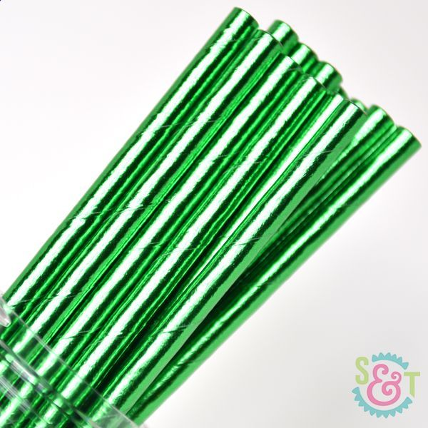 Solid Paper Straws: Green Foil