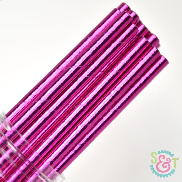 Solid Paper Straws: Pink Foil