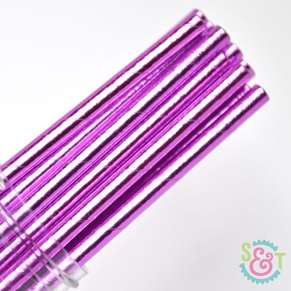 Solid Paper Straws: Purple Foil