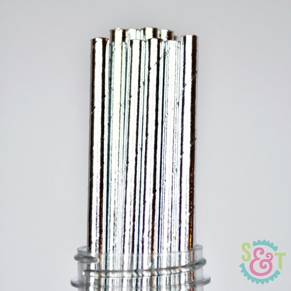 Solid Paper Straws: Silver Foil