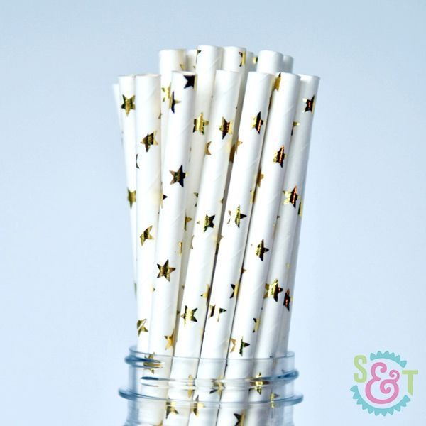 Star Paper Straws: Gold Foil