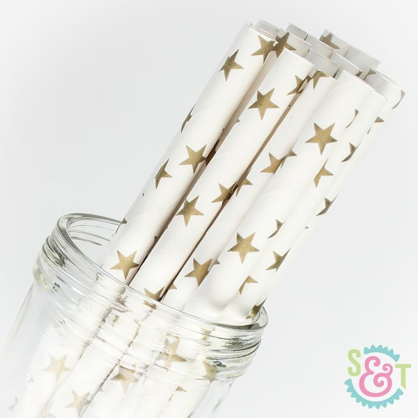 Star Paper Straws: Gold Metallic
