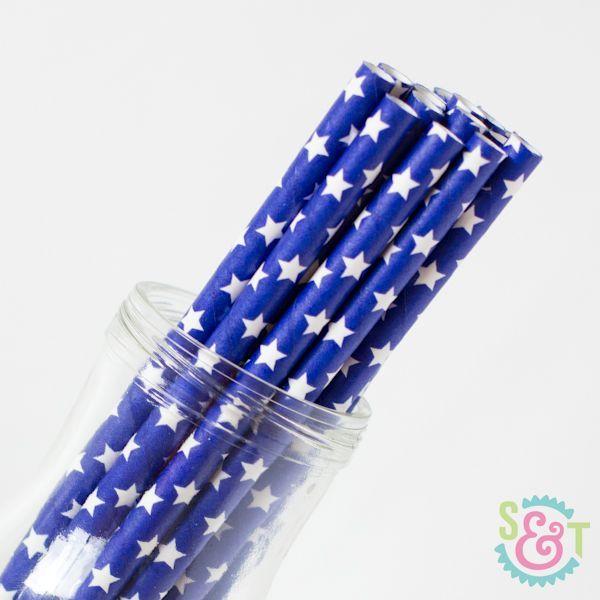 Star Paper Straws: Navy/White