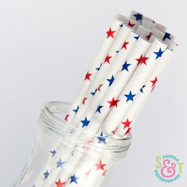 Patriotic Star Paper Straws - Red, White, & Blue Paper Straws