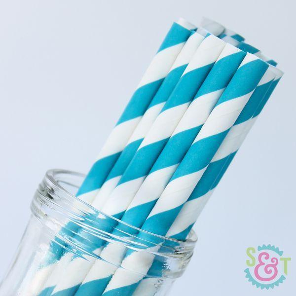 Stripe Paper Straws: Aqua Blue