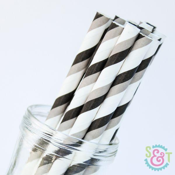 Stripe Paper Straws: Black/Gray
