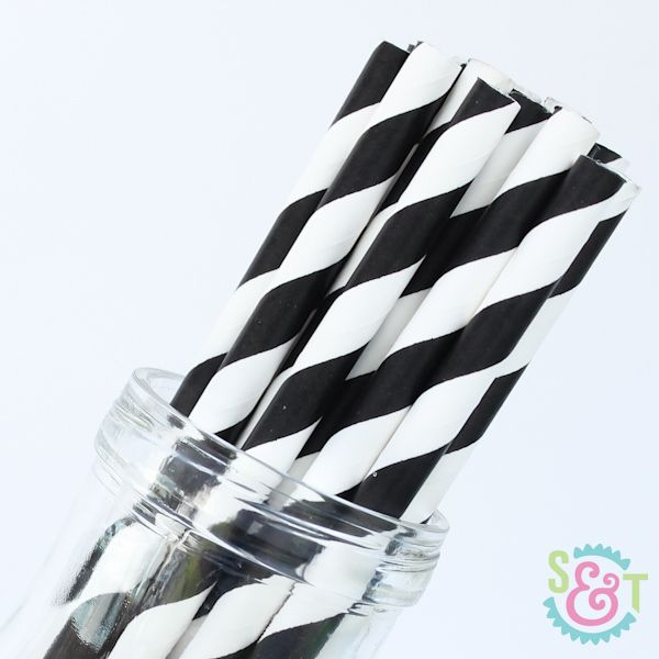 Stripe Paper Straws: Black