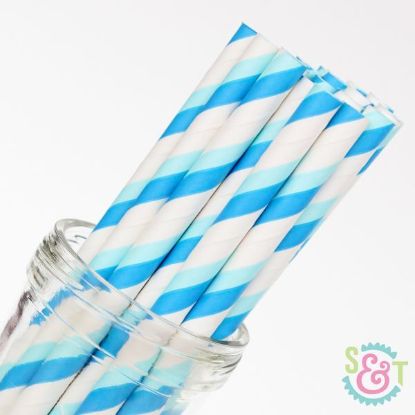 Stripe Paper Straws: Blue/Light Blue