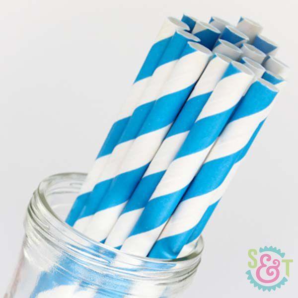 Stripe Paper Straws: Blue