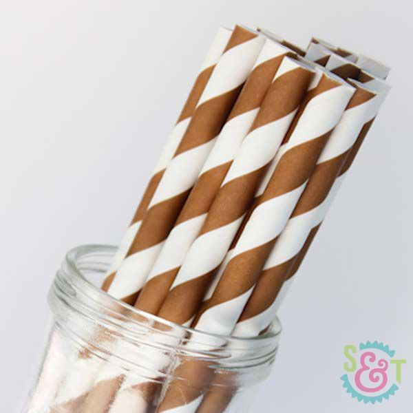 Stripe Paper Straws: Brown