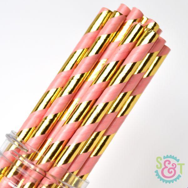 Stripe Paper Straws: Coral/Gold Foil